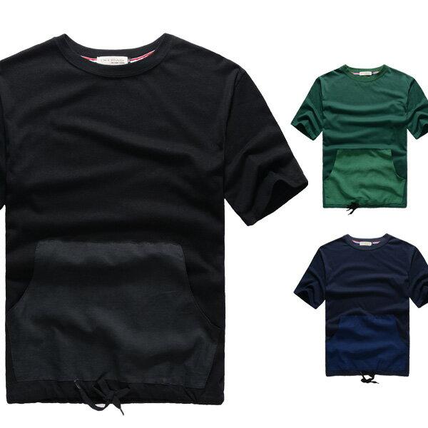 T恤.潮T.Tshirt 情侶裝.純棉.情侶T恤.短T.素色貼袋下擺束口短T~A31000