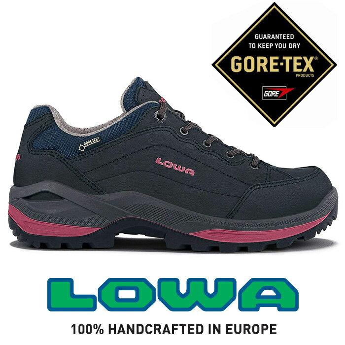 【LOWA 德國】Renegade GTX 低筒防水登山鞋 健行鞋 女款 藍/桃紅色 (LW320963-6951)