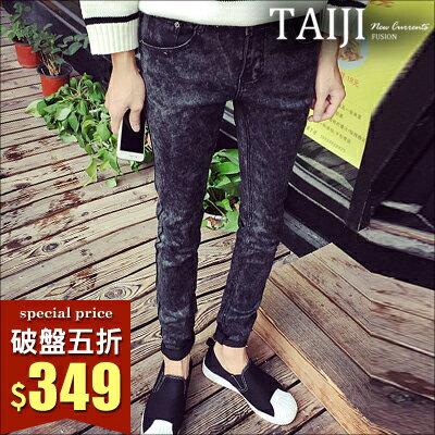 TAIJI:牛仔褲【ATJB1106】街頭風格合身窄版素面牛仔丹寧長褲水洗刷色抓皺破壞★