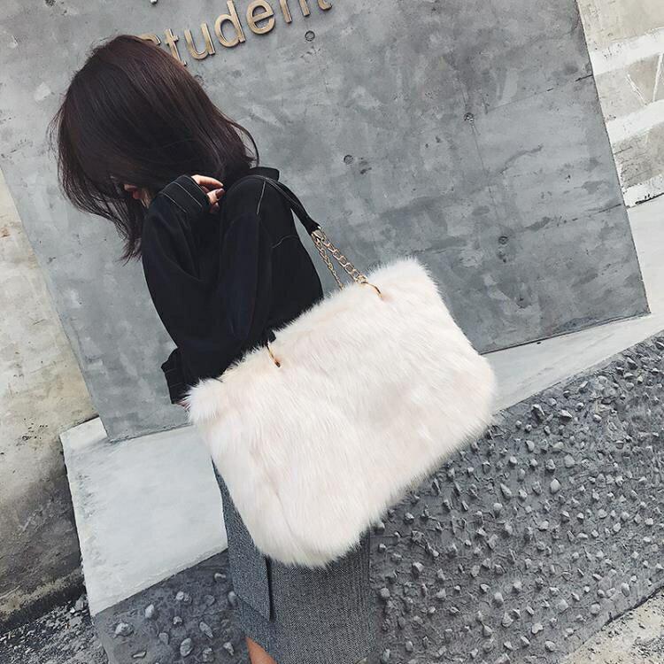 毛毛包包女手提新款潮韓版大包百搭側背包托特包毛絨包yh