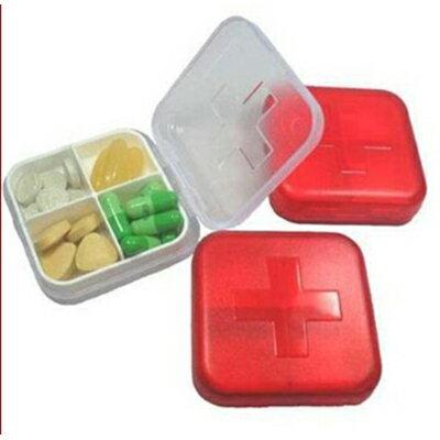 【省錢博士】 十字四格小藥盒 / 新款加厚可攜式保健藥盒 19元