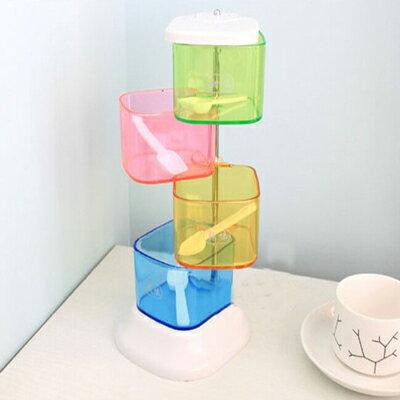 【省錢博士】創意調味盒四件套 / 360度彩色調味盒 / 旋轉式創意調味罐