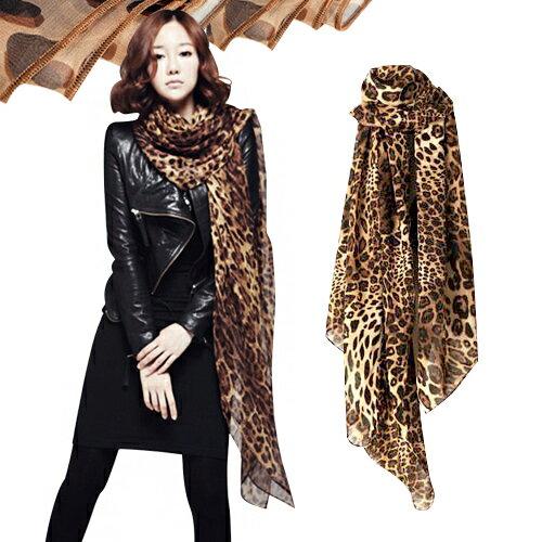 【省錢博士】豹紋絲巾 / 空調披肩 / 圍巾絨雪紡 / 長款兩用超長紗巾