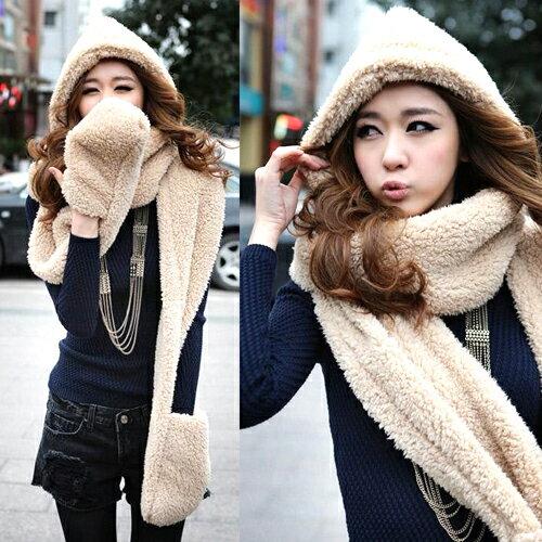 【省錢博士】韓國秋冬款 / 加厚絨毛連帽圍巾手套三合一