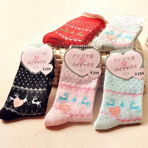 女款兔羊毛加厚保暖中筒半筒襪【省錢博士】挑款不挑色 0