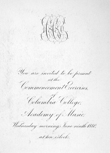 Columbia Commencement Ninvitation Engraving To Attend The Commencement Ceremonies For The Class Of 1880 At Columbia University New York Poster Print by (18 x 24) eab461b7bfd8f6f136289381f74163dd
