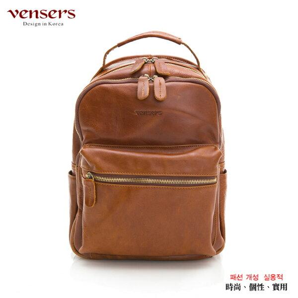 【Vensers】小牛皮潮流個性包~後背包(NE054601土黃)