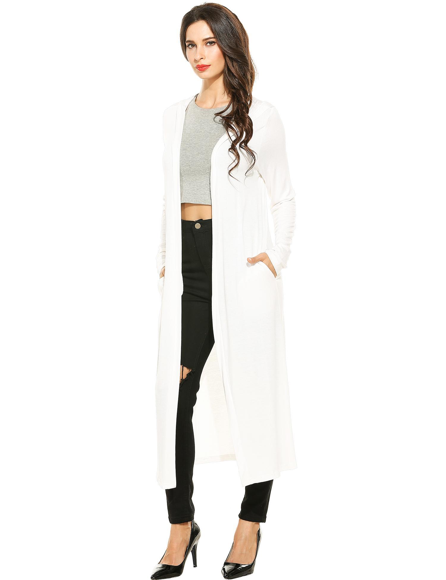 Women Casual Hooded Long Sleeve Solid Maxi Cardigan 1
