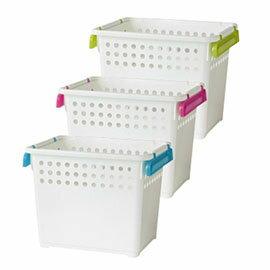 【nicegoods】 微笑2號層疊收納籃(三入)3色隨機出貨(塑膠 整理箱 儲物 樹德)