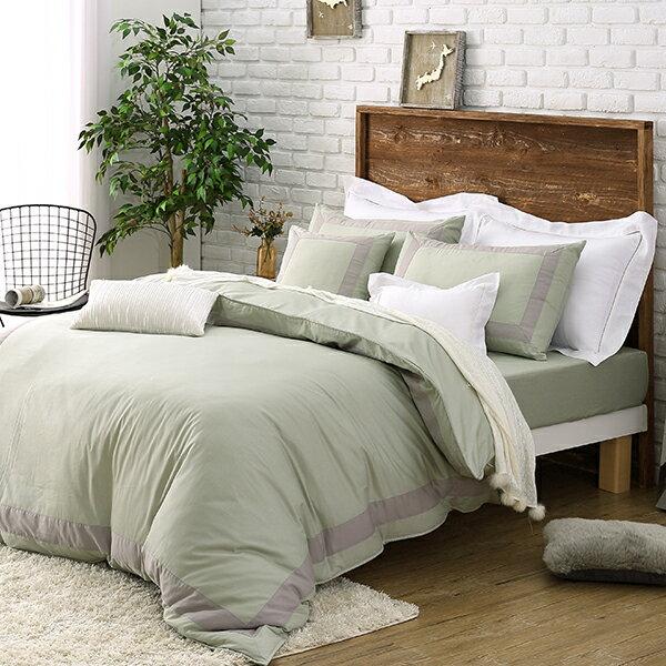 三燕彈簧床:跳色-抹茶綠雙人特大床包6x7獨家設計-100%純棉柔軟吸汗眠之初
