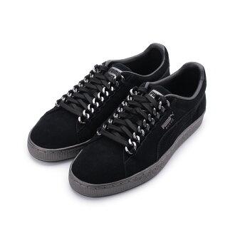 9f3380e89b0874 PUMA SUEDE CLASSIC X CHAIN 復古鎖鏈板鞋黑銀367391-01 男鞋-