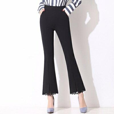 喇叭褲九分褲-黑色蕾絲褲腳薄款女西裝褲73rf19【獨家進口】【米蘭精品】