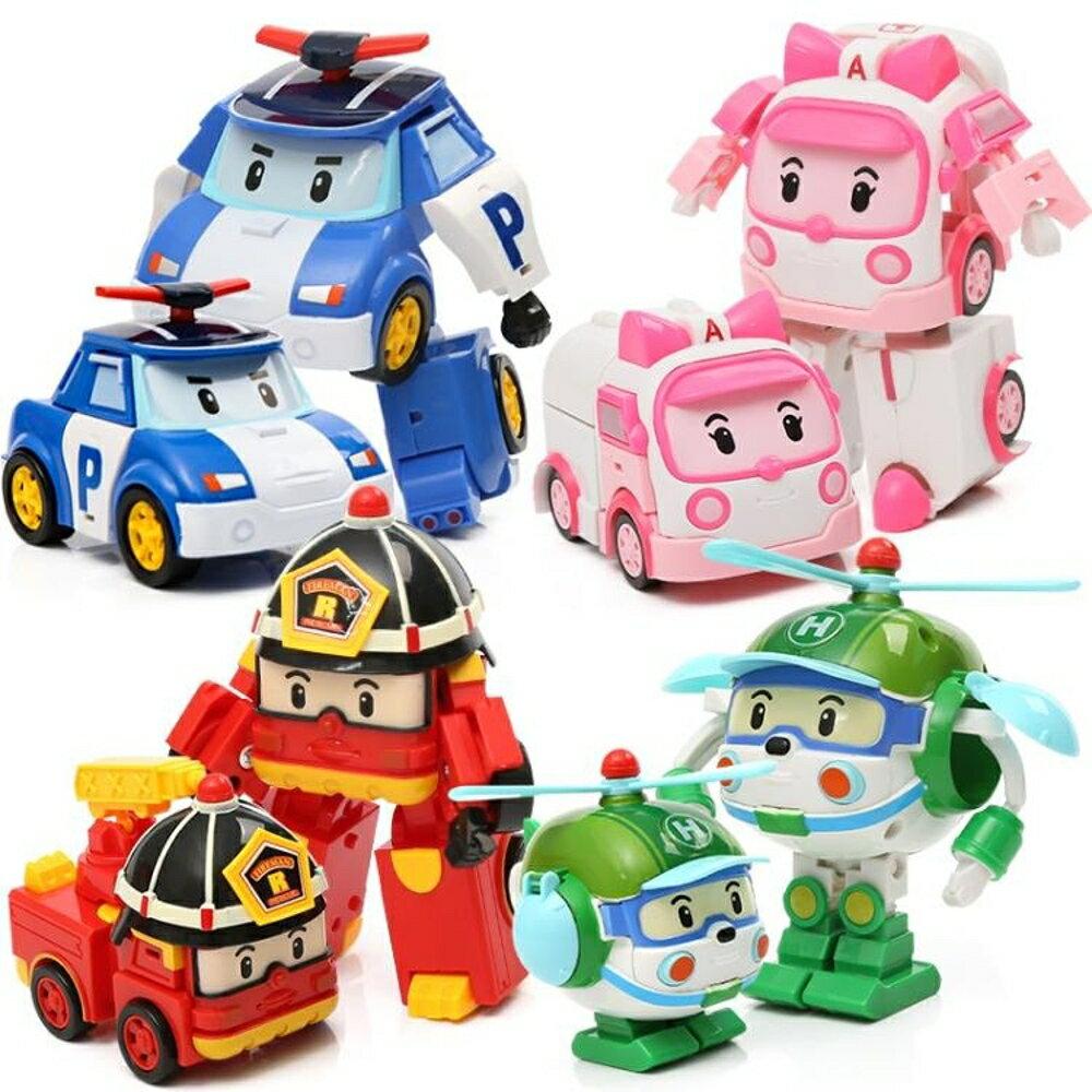 兒童波利警車機器人羅伊消防變形車星珀利警長救援隊套裝玩具男孩 0