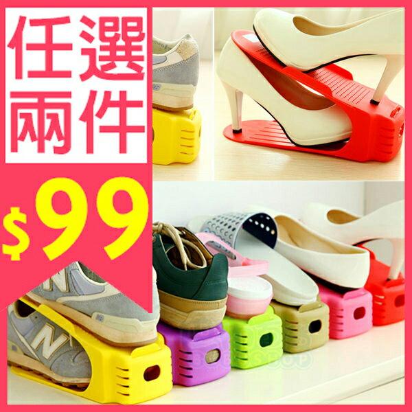 馬卡龍色系 加厚一體式創意鞋架/日式收納鞋架/簡易鞋架/雙層疊放鞋架 (1入)【巴布百貨】##