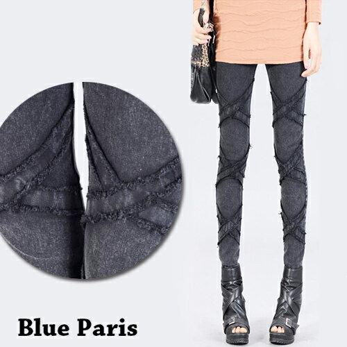 牛仔長褲 - 鬆緊腰立體X型壓線彈力窄管牛仔褲【23296】藍色巴黎 《M~XL》現貨+預購 0