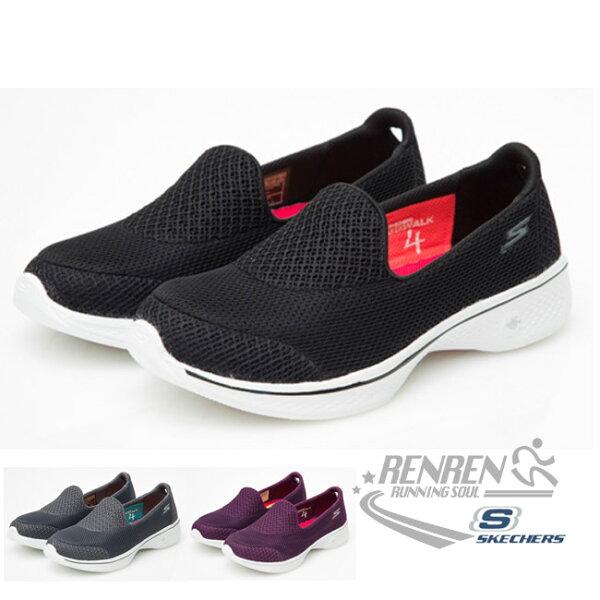 SKECHERS女運動鞋GoWalk4(黑)健走系列鞋14170BKW【胖媛的店】