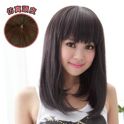 萌Q年輕漾髮尾彎彎直髮 【892A】高仿真超自然整頂假髮☆雙兒網☆