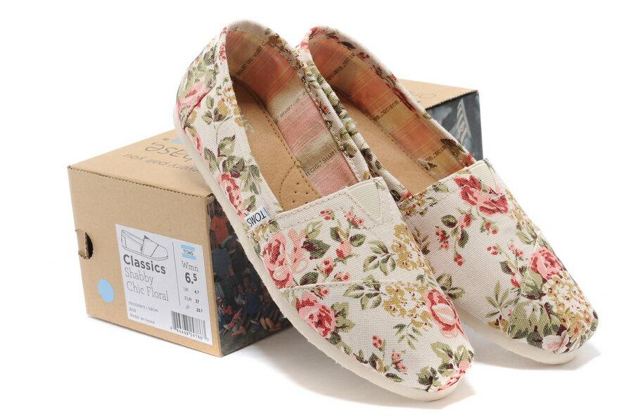 [女款] 國外代購TOMS 帆布鞋/懶人鞋/休閒鞋/至尊鞋 帆布系列  薔薇花米白 2