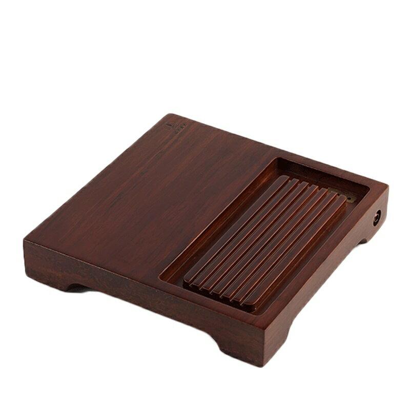 茗匠烏金石重竹茶盤簡約茶具實木茶海排水式茶台長迷你小號茶託盤