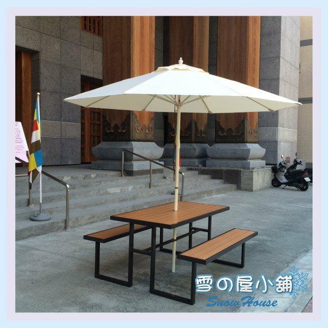 ╭☆雪之屋小舖☆╯S43A12 塑木野餐桌椅+9尺休閒傘(白)組@店長嚴選@ 啤酒桌/戶外休閒桌/DIY自組