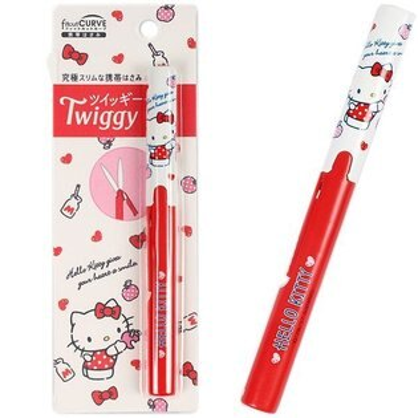【真愛日本】17082300050TWIGGY筆型收納剪刀-KT紅三麗鷗凱蒂貓KITTY剪刀收納剪刀筆型剪刀