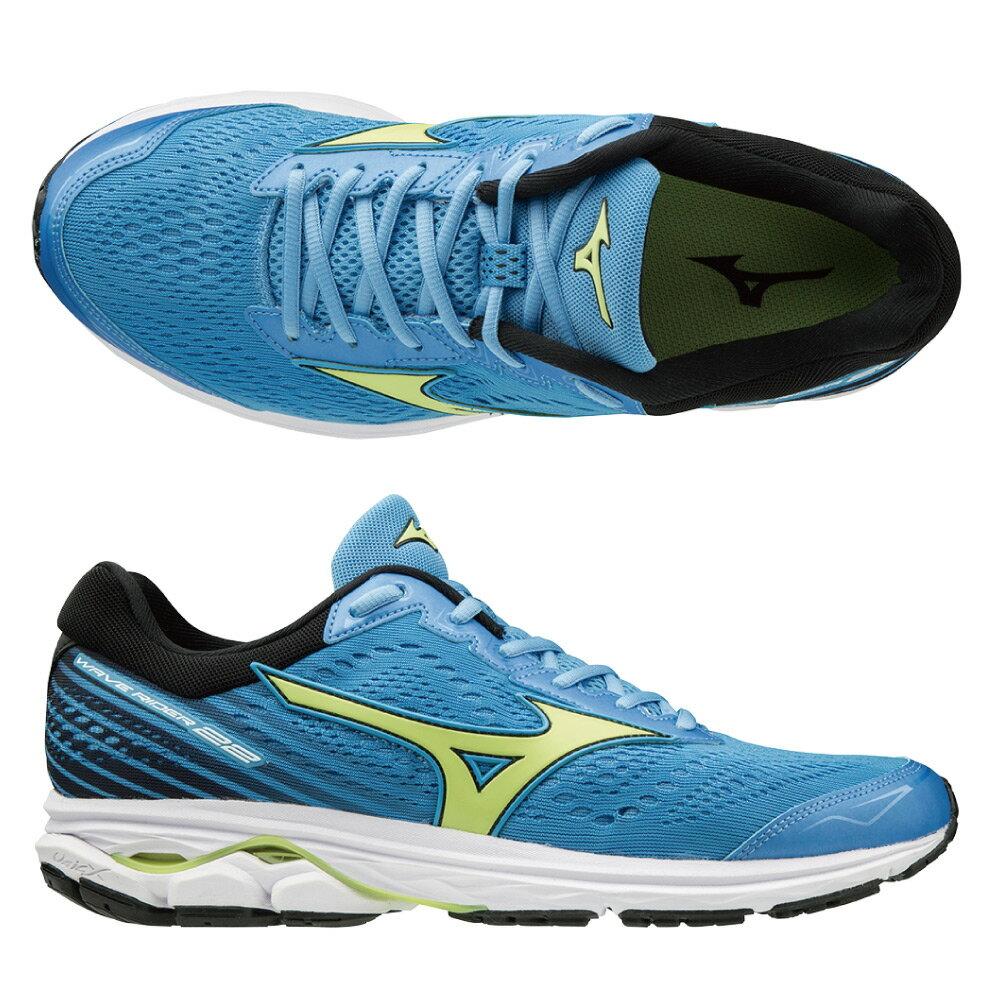 WAVE RIDER 22 一般型 男款慢跑鞋 J1GC183135(水藍x螢光綠)【美津濃MIZUNO】 1