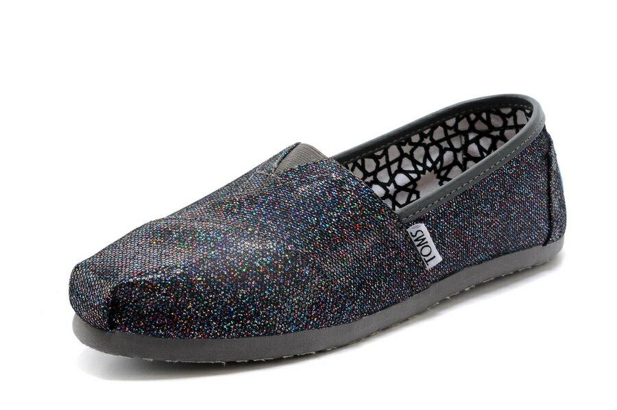 【TOMS】經典亮片款平底休閒鞋(七彩黑色)  Authentic Multi Glitter Women's Classics【全店免運】 2