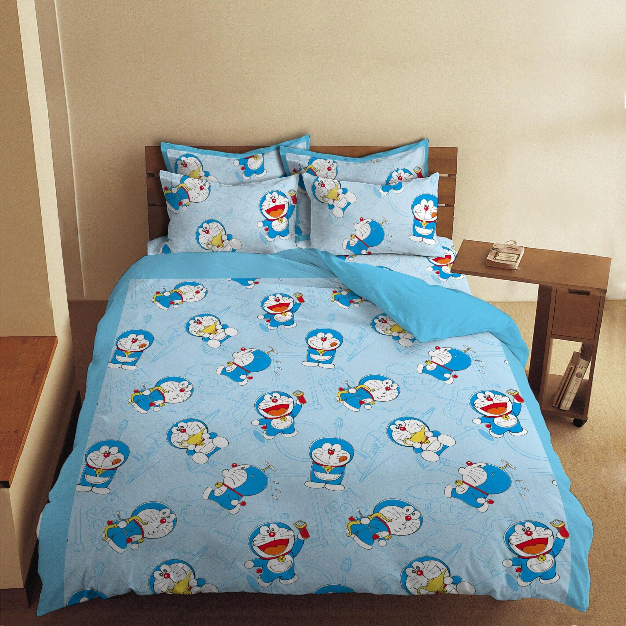 【嫁妝寢具】哆啦A夢.雙人床包組【床包+枕套*2】台灣製造 .3件組