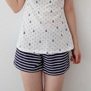 Ms.Free~海軍風條紋短褲~MIT精梳棉100%~海軍藍  絳紅