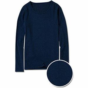 Ms.Free MIT重磅天絲棉專利 永久發熱紗-男生長袖圓領條紋發熱衣 (藍)