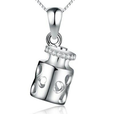 ☆925純銀項鍊 鑲鑽吊墜-回憶的瓶子七夕情人節生日禮物女配件銀飾73am106【獨家進口】【米蘭精品】