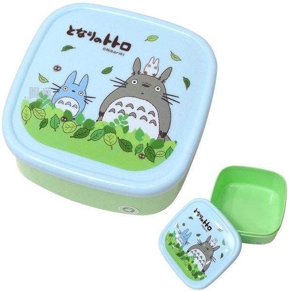 【真愛日本】13011900038 四方保鮮盒-落葉藍 龍貓 TOTORO 豆豆龍 貓公車 餐盒 野餐盒 正品