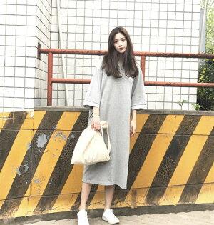 短袖洋裝翻領學院風長版衫運動T裙短袖連身裙【MYH855】BOBI0621
