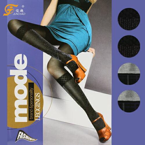 彈性造型花紋褲襪亮蔥格紋款台灣製俊超