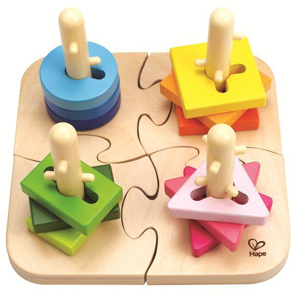 【淘氣寶寶】德國 Hape 愛傑卡 創意樁木幾何拼圖