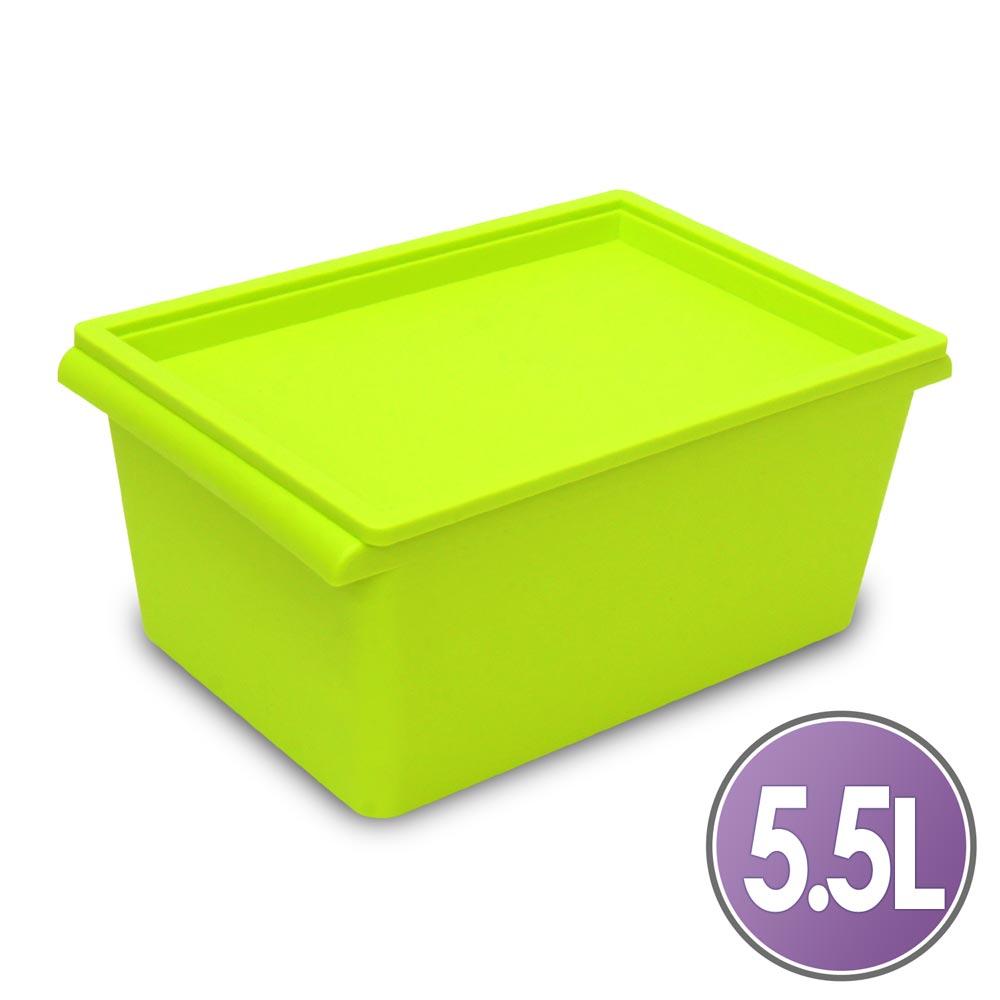 WallyFun 亮彩掀蓋整理箱 -5.5L (粉/藍/綠)