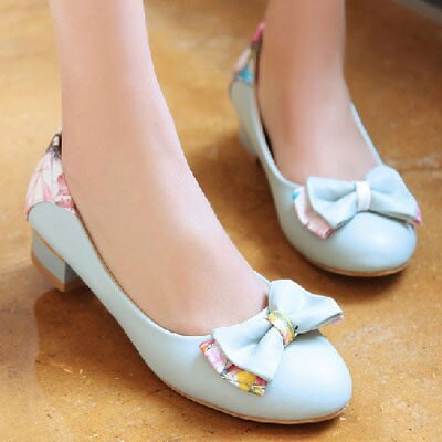 ☼zalulu愛鞋館☼ CB167 現貨 低跟花布色後跟尖頭蝴蝶結流行感套腳丁字鞋-白/藍 43