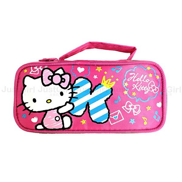 HELLO KITTY 鉛筆盒 筆袋 手提上掀筆袋 收納袋 文具 正版日本授權 JustGirl