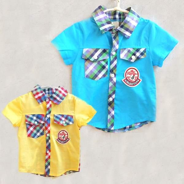 【班比納精品童裝】前素面後格子徽章襯衫-黃【BM150617012】