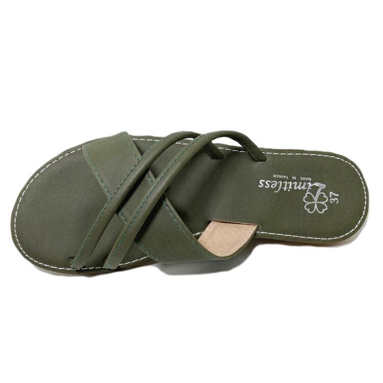 【滿額領券↘折$120】Limitless利米堤司 女款交叉皮質休閒拖鞋 [3139] 綠 MIT台灣製造【巷子屋】