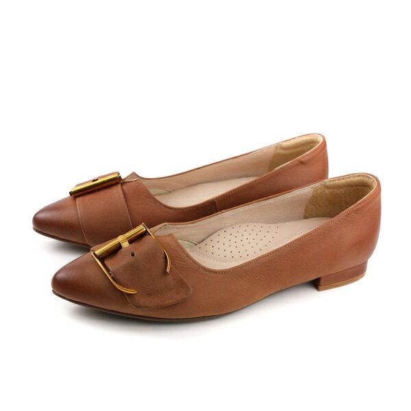 HUMANPEACE休閒皮鞋尖頭平底女鞋紅棕色061824TBno288