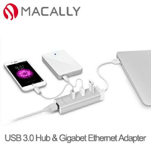 Macally USB 轉網路 + 3USB HUB 轉接器 - 支援 MAC 系統