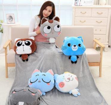美麗大街【HB107031217】空調被三合一可愛卡通空調毯抱枕呆呆萌貓咪手摀暖手寶午睡毯