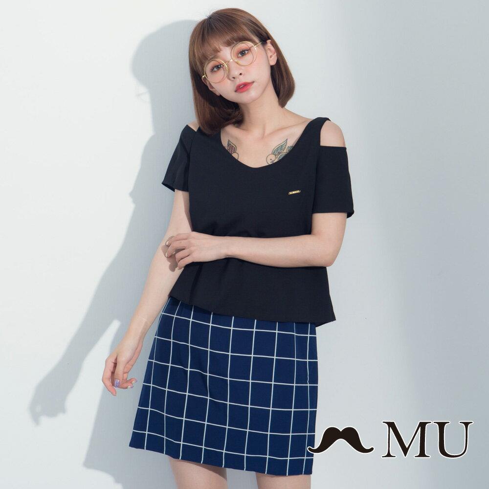 【MU】假兩件露肩格紋裙擺洋裝 7317165 4