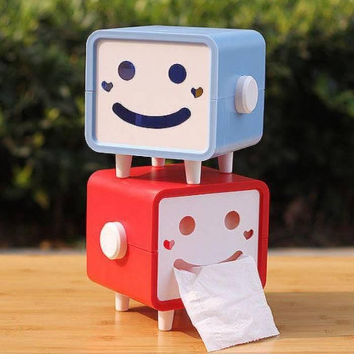 [Hare.D] 笑臉 面紙盒 方型笑臉面紙盒 表情 面紙 紙巾盒 硬殼 滾筒面紙 小包抽取式