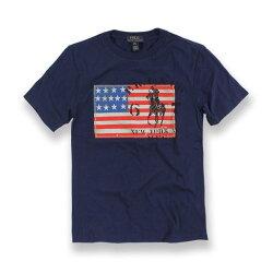 國百分百【Ralph Lauren】T恤 RL 短袖 T-shirt Polo 國旗 大馬 深藍 情侶裝 XXS XS S號青年版 H952