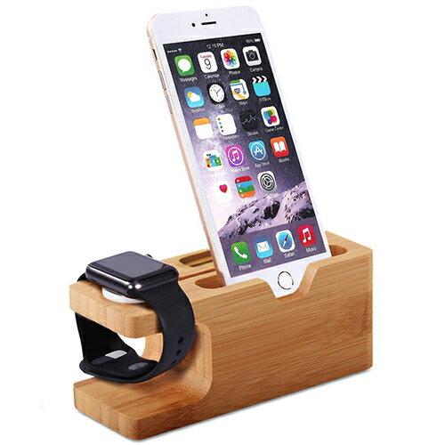【現貨】智慧型手錶手機木質充電收納架 手機支架 內置充電槽 多功能支架