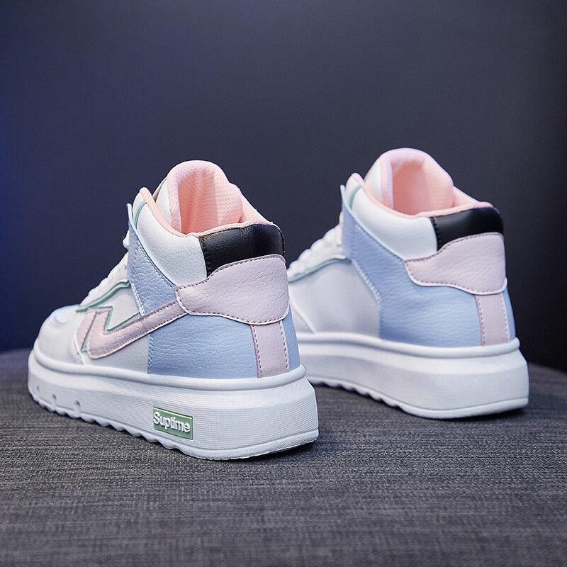 ins高幫小白鞋女2021春季新款韓版學生跑步板鞋女街拍休閒鞋NK88