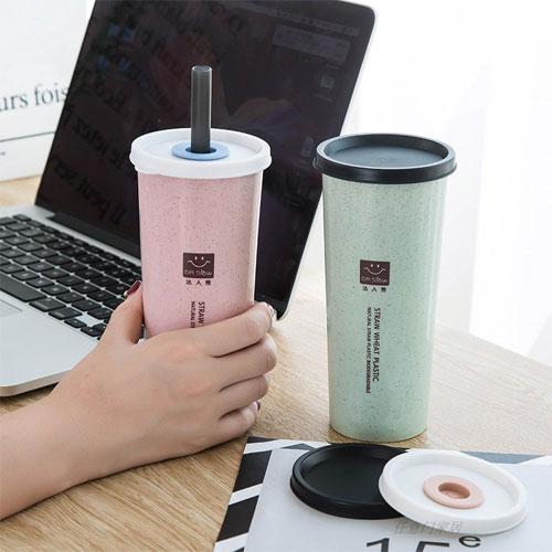 小麥秸稈雙蓋吸管隨行杯 470ml 環保杯 麥香杯 情侶杯 珍珠奶茶 大吸管