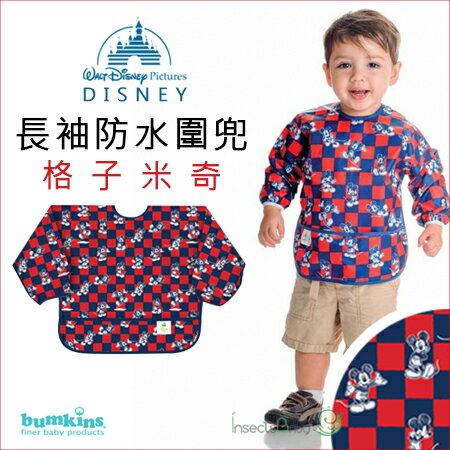 ✿蟲寶寶✿【美國Bumkins】迪士尼-防水防臭圍兜口水巾(長袖) -格子米奇